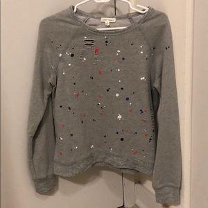 Splatter Paint Distressed Sweatshirt